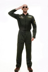 DRESS ME UP - Kostüm Herren Herrenkostüm Pilot Kampfpilot Overall Airforce Gr. S/M M-052 -