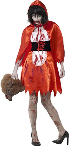 Frauen Erwachsene Fancy Dress Halloween Party Horror Zombie Little Miss Kapuze Kostüm Gr. XS, rot -