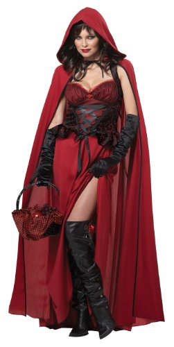 Ladies Dark Red Riding Hood Halloween Fancy Dress Costume -